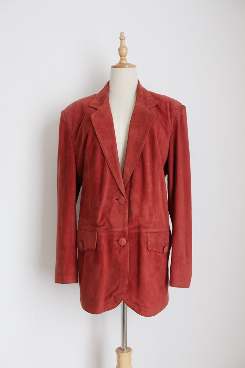 GENUINE SUEDE LEATHER VINTAGE BRICK RED BLAZER - SIZE 10