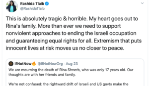 "Tlaib blames jihad murder of Israeli teen on ""Israeli occupation"""