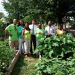 Mayor Noam Bramson, Councilman Jared Rice, and Senator Andrea Stewart-Cousins with the Lincoln Park Community Garden organizers.