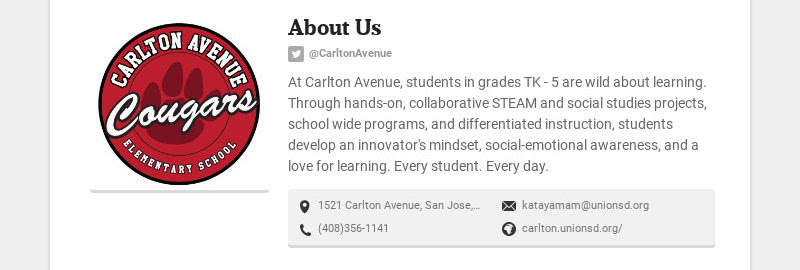 About Us @CarltonAvenue At Carlton Avenue, students in grades TK - 5 are wild about learning....