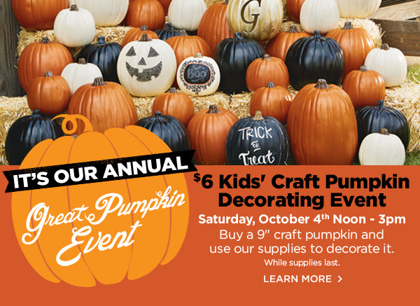 $6 Kid's Craft Pumpkin Decorating Event