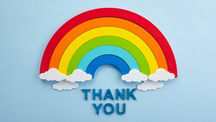 Image of rainbow with 'thank you' underneath