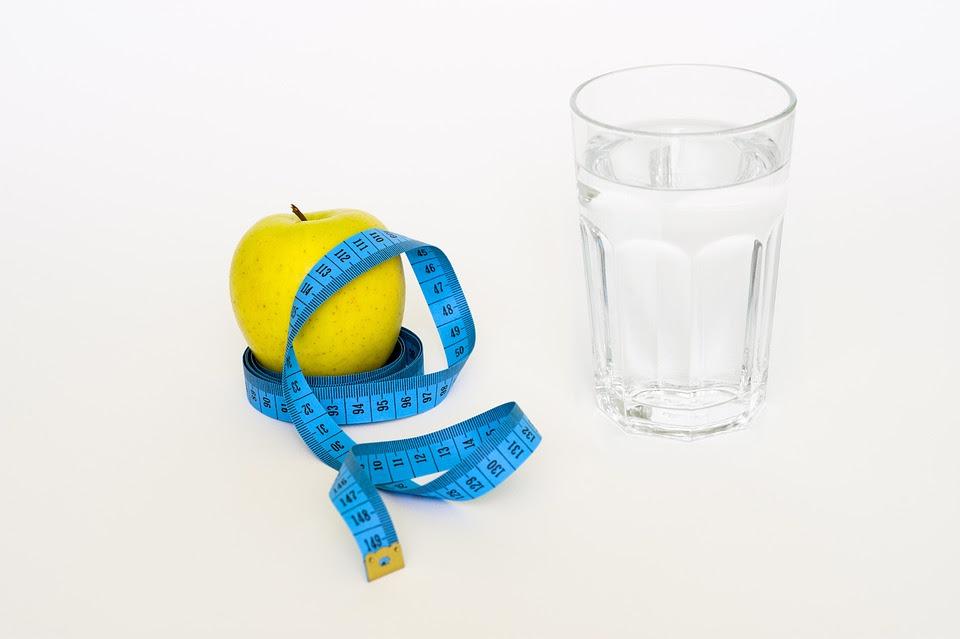 Fita, Apple, Glas, Água, Blue, Dieta, Saudável, Saúde