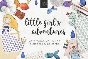 Little girl's adventure   watercolor