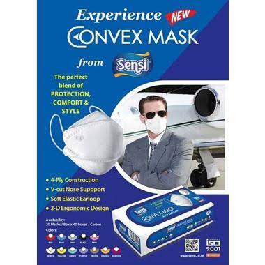 Sensi Convex Mask 4-ply Earloop Mask 4D White / Putih [20 pcs]