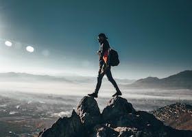 Photo of accomplishment, adventure, backpacker