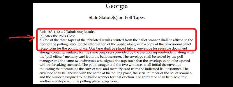 Georgia statute on results of ballot scanner to be posted on the door of the polling place.