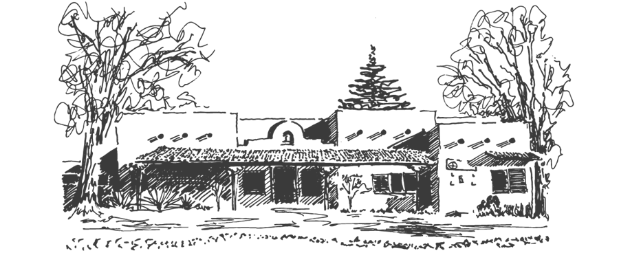 A hand-drawn image of the front of the Center for Action and Contemplation.