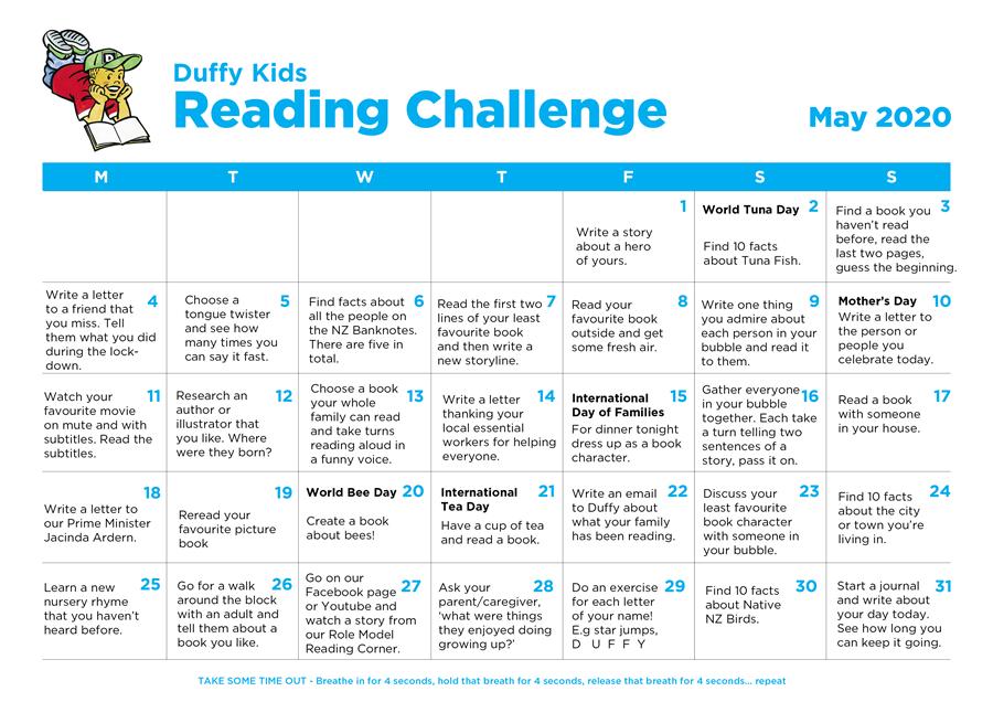 Duffy Kids Reading Challenge Calendar