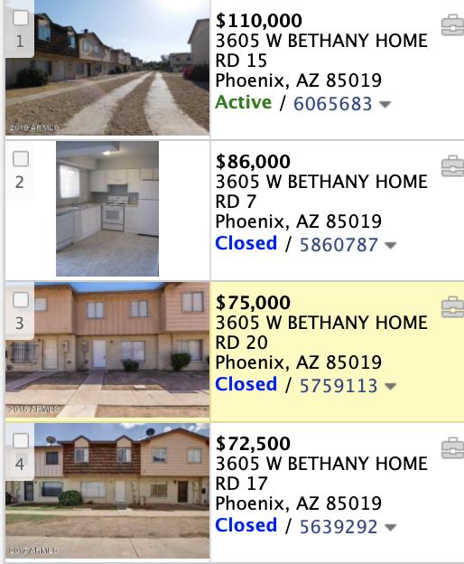 3605 W Bethany Home Rd Apt 28 Phoenix, AZ 85019 comps list
