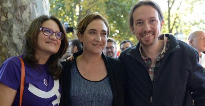 4. Monica Oltra, Ada Colau y Pablo Iglesias, en la manifestación contra la violencia machista en Madrid. PÚBLICO
