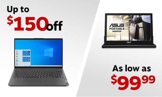 Computer side of image: Up to $150 off Monitor side of image: As low as $99.99
