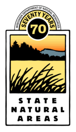 DNR's State Natural Areas logo featuring a lake graphic with pines, grass and a hill