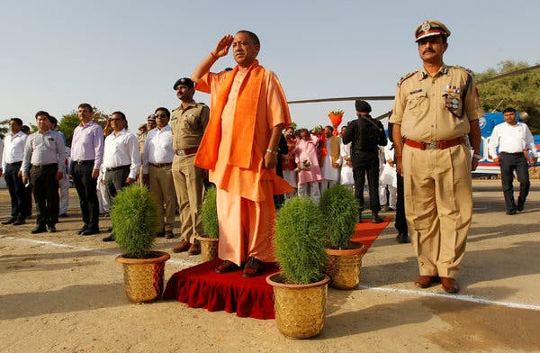 Yogi Adityanath, center, the chief minister ofUttar Pradesh, India's most populous state. His government proposed changing the name of Meerut to Godse City.