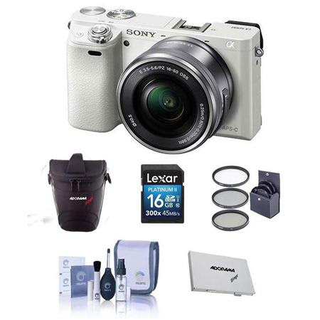 Alpha A6000 Mirrorless Digital Camera with 16-50mm E-Mount Lens, White - BUNDLE - with Cam