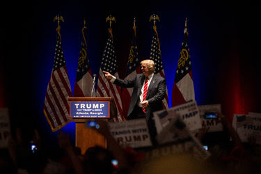 Donald J. Trump left the stage after he spoke at a campaign rally at the Fox Theater in Atlanta on Wednesday.