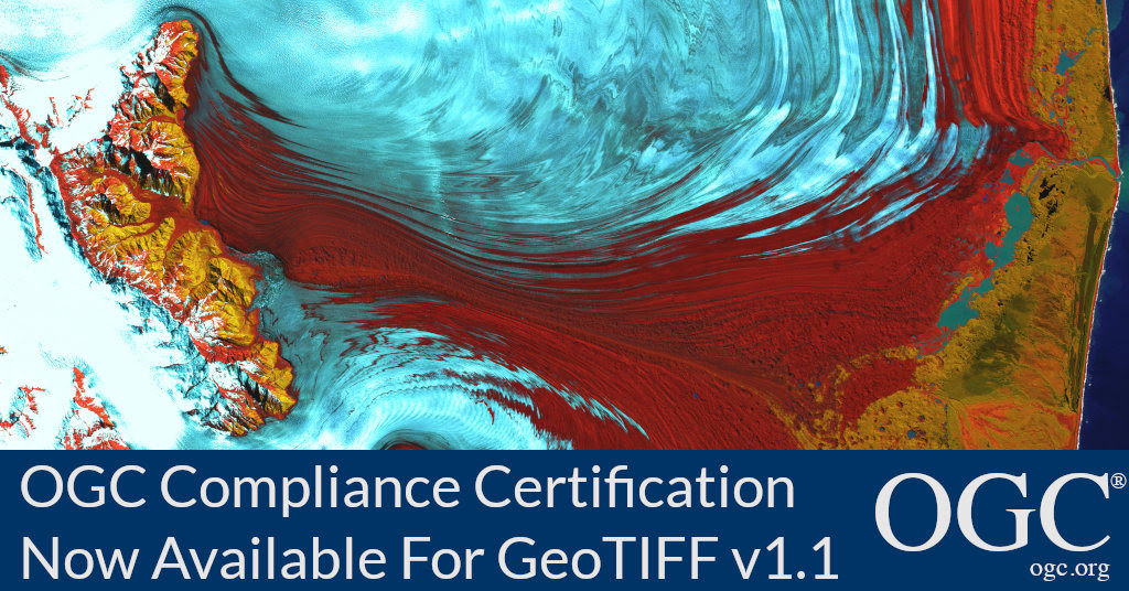 Banner announcing new OGC compliance availability for GeoTIFF v1.1
