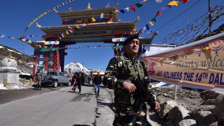 An Indian military personnel stands guard near the Chinese border in Arunachal Pradesh April 2017 (Photo Courtesy- AFP)