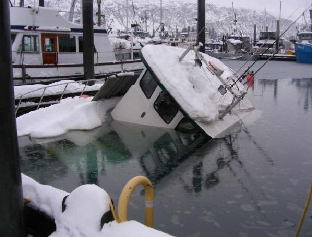 sunken boat with snow