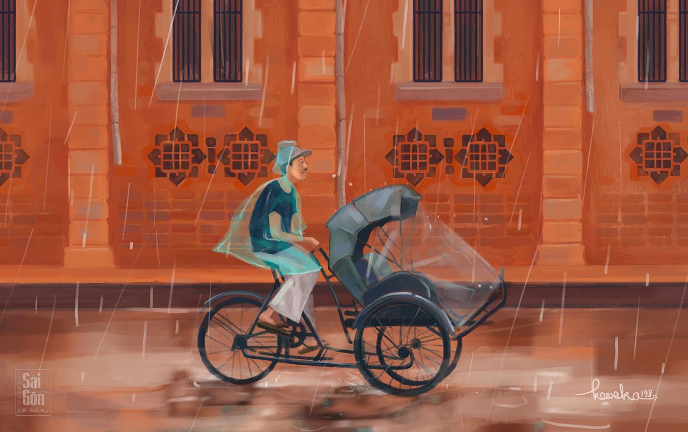 saigon rain vietnam ILLUSTRATION art creative