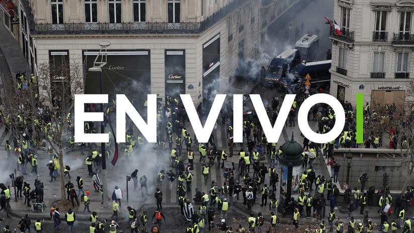 """""""Todos al Eliseo"""": 'Chalecos amarillos' protestan en París por cuarta semana consecutiva (EN VIVO)"""
