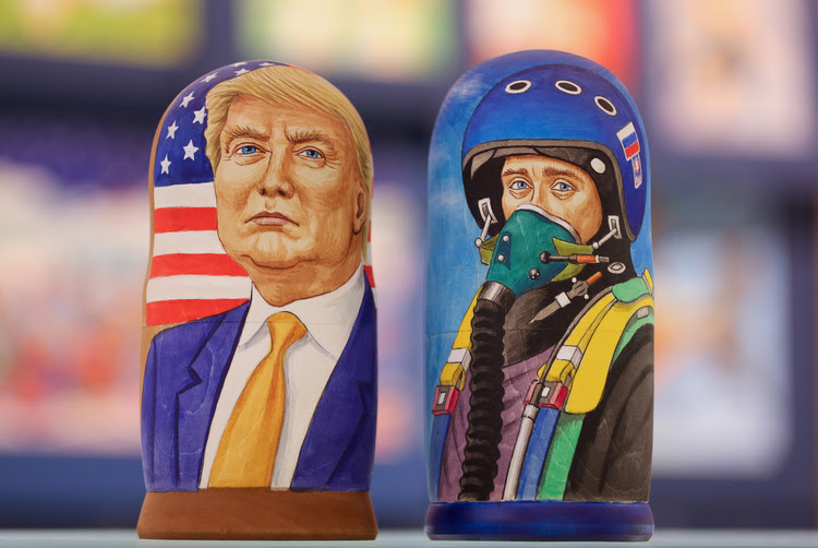 Matryoshka dolls depict President Trump and Russian President Vladimir Putin at a store in Moscow. (Andrey Rudakov/Bloomberg News)