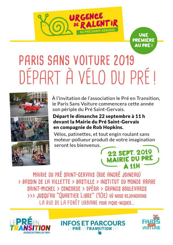 Paris sans voiture 2019 départ à vélo du Pré !
