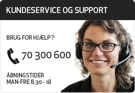 Kundeservice og support: Telefon 70 300 600. Åbningstider man-fre 9-18.