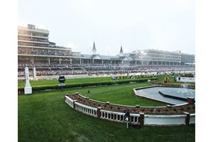 The famous twin spires set the scene for the Run for the Roses at Churchill Downs