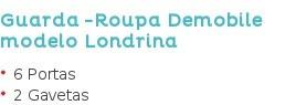 Guarda -Roupa Demobile modelo Londrina 6 Portas 2 Gavetas