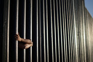 The bars that make up the border wall separating the United States and Mexico where the border meets the Pacific Ocean in San Diego. Donald Trump has proposed a full border wall between the countries.