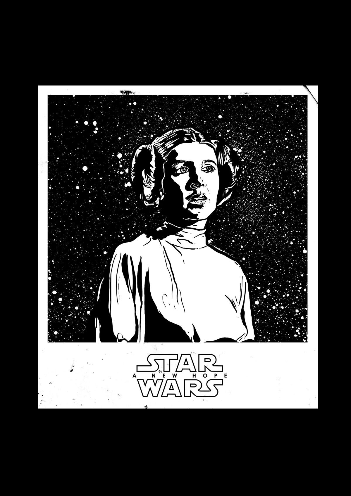 stylized portrait of princess leia