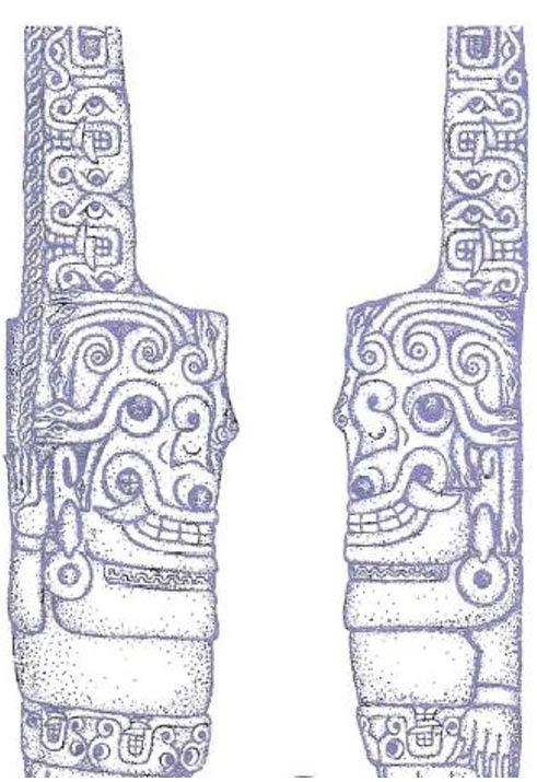 """La escultura de la """"Gorgona"""" en Chavín de Huántar, tal y como aparece representada en la página 67 del libro del Doctor Enrico Mattievich, """"Viaje al Infierno Mitológico, el Descubrimiento de América por los Antiguos Griegos."""""""