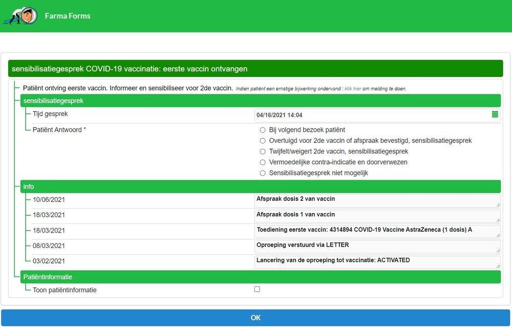 Voorbeeld van pop-up in de software waar de patiënt al 1 vaccin heeft ontvangen.