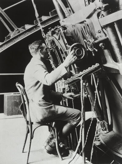A young Edwin Hubble at Mount Wilson's 100-inch telescope circa 1922, ready to make history.