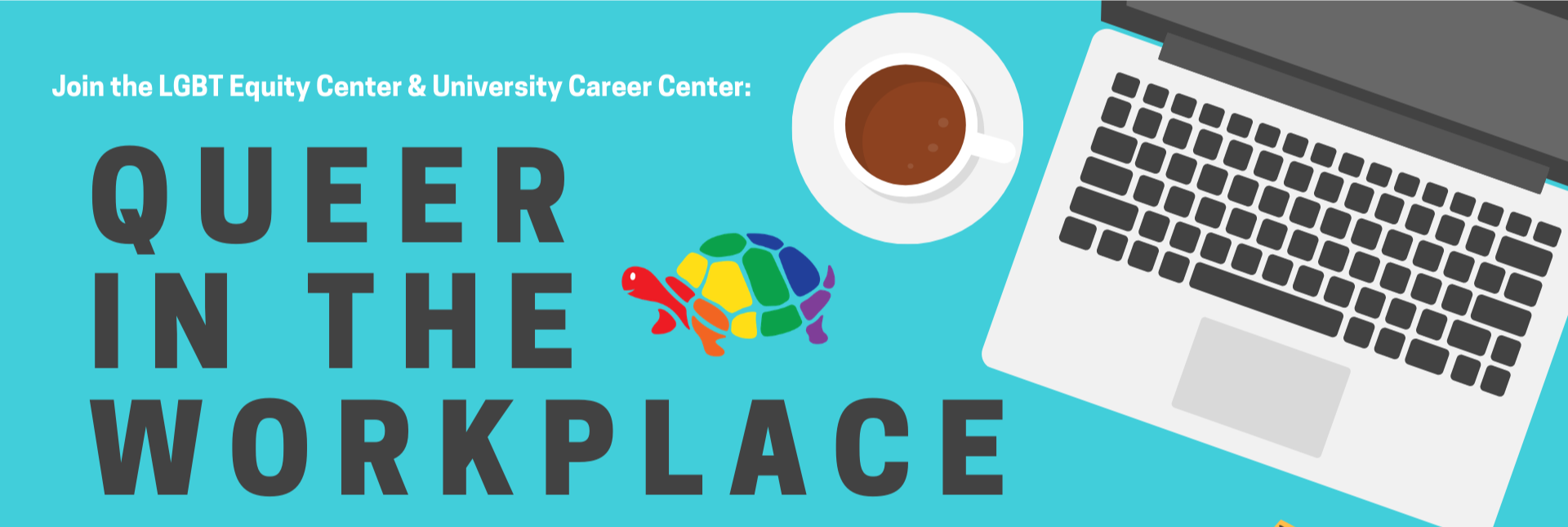 Event details are repeated on a bright turquoise background with a rainbow turtle and a laptop workspace