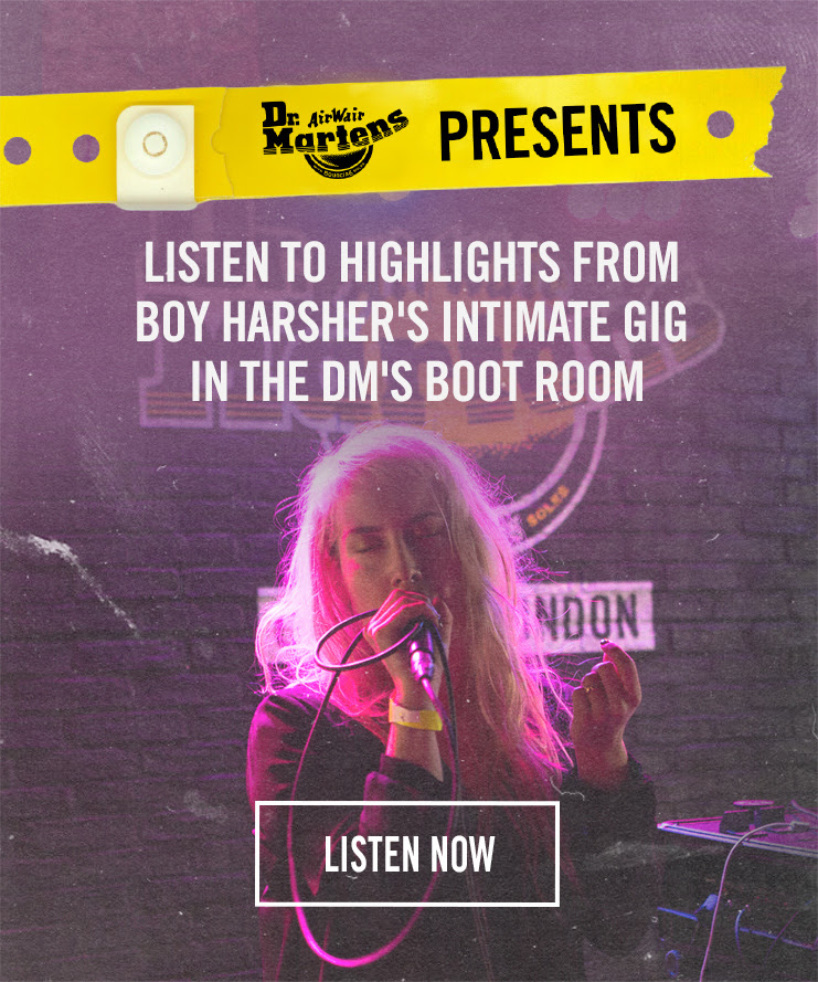 LISTEN TO HIGHLIGHTS FROM BOY HARSHER'S INTIMATE GIG IN THE DM'S BOOT ROOM - LISTEN NOW