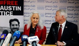 File photo Marc and Debra Tice, the parents of Austin Tice, who is missing in Syria, speak during a press conference, at the Press Club, in Beirut, Lebanon