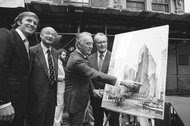 Donald J. Trump, left, with Mayor Ed Koch, center and New York Gov. Hugh L. Carey, pointing to a rendering of what would become the Grand Hyatt Hotel, in June 1978. A crucial factor behind the hotel's construction was 40-year tax break that has cost New York City $360 million to date.
