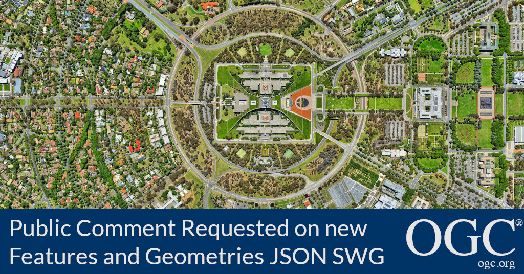Banner announcing public comment period for Features and Geometries JSON Standards Working Group
