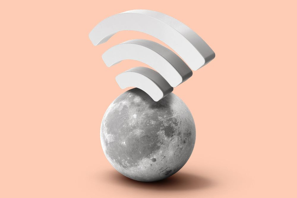 Moon with wifi signal coming out the top of it