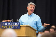 Gary Johnson, the Libertarian Party presidential nominee, at a campaign rally on Saturday at Grand View University in Des Moines.