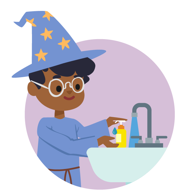 illustration of a boy in wizard costume washing his hands