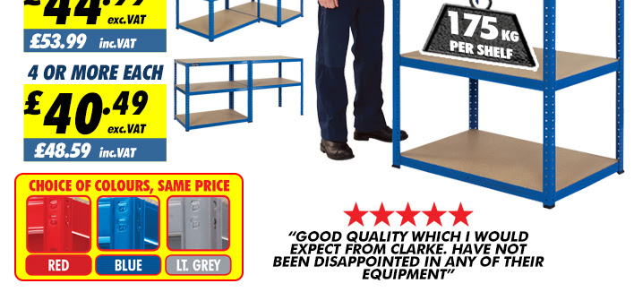 Clarke CSM5175/60BL 175kg Tough Steel Boltless Shelving
