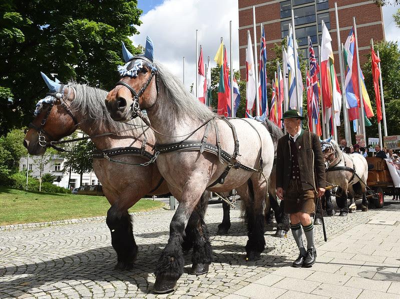 Juin 2017, Munich : des milliers de signatures sont réunies à Munich pour s'opposer à un brevet sur l'orge, le brassage et la bière déposé par l'entreprise Carlsberg. Le siège de l'OEB est visible en arrière-plan.
