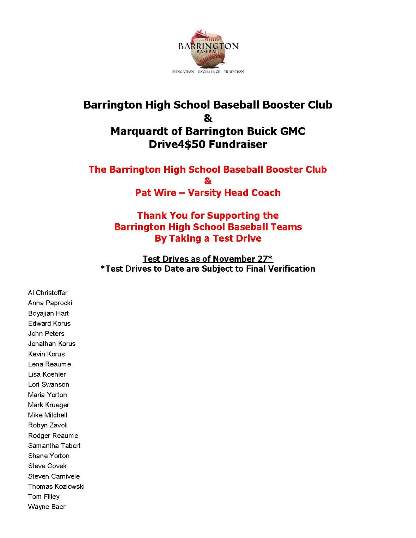 Barrington High School Baseball Booster Club Drive4 50 Drivers Update 112716