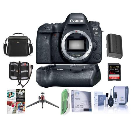 EOS 6D Mark II DSLR Body - With Canon BG-E21 Battery Grip - Bundle With 32GB SDHC U3 Card,