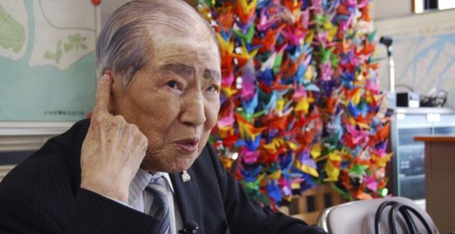Sunao Tsuboi, de 90 años, presidente de la Asociación de supervivientes de la Bomba Atómica de Hiroshima, conocidos como 'hibakusha'. EFE/Ramón Abarca