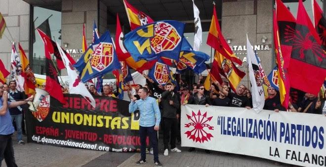Imagen de la concentración de la ultraderecha en Barcelona./ EP
