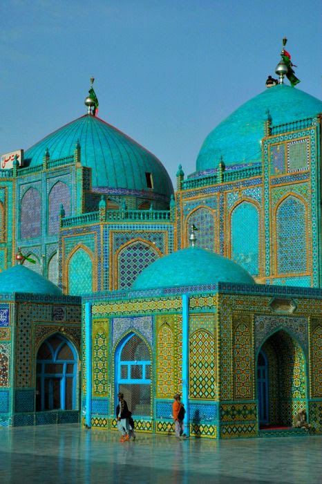 "The magnificent Blue Mosque at Mazar e Sharif, in Herat, North Afghanistan, believed to be the burial ground of Ali Ibn Abi Talib, cousin and son in law of the Prophet Muhammad, and Islam's fourth caliph. Mazar-e-Sharif means ""Tomb of the Exalted."":"